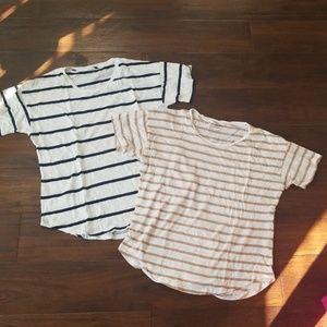 Madewell whisper cotton stripe tees, large